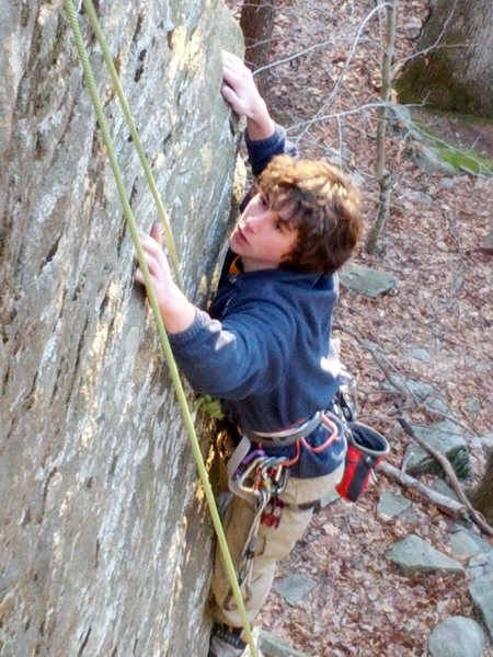 Rock Climbing Photo: John Meagher on the pumpy upper half. Photo by Oll...