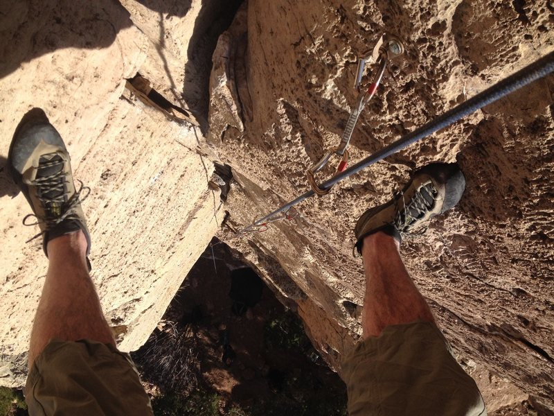 Rock Climbing Photo: Starting the rap off.