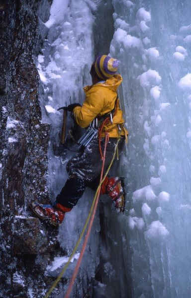 "Rock Climbing Photo: ""An adult ice climbing without a helmet""..."