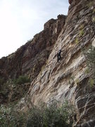 Rock Climbing Photo: Suzanne on the easier climbing section of 'Meteor ...