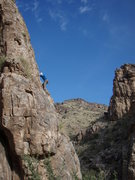 Rock Climbing Photo: Susan silhouetted against the sky while climbing '...