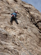 Rock Climbing Photo: Suzanne finishes up her lead on the first pitch of...