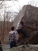 Rock Climbing Photo: reaching for crimp on Tennis Shoe Arete