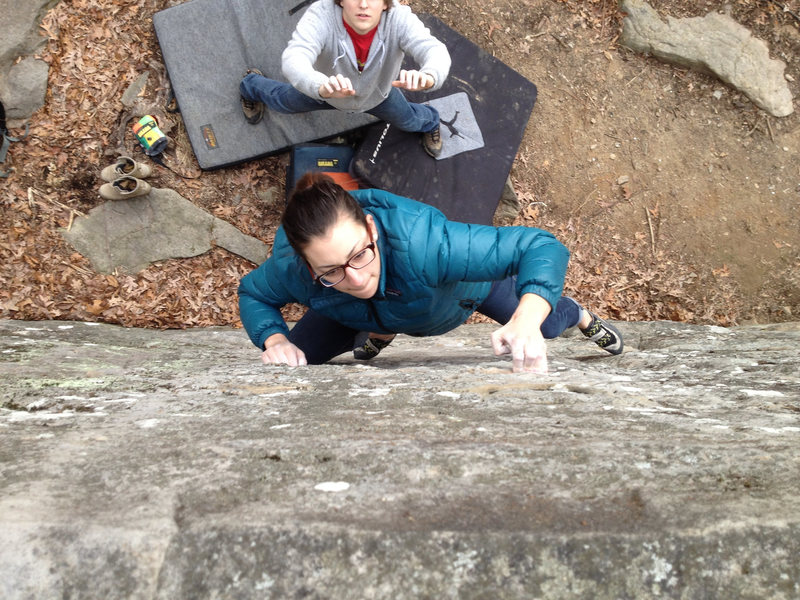 Rock Climbing Photo: teching up the crimpy face of Comfortably Numb