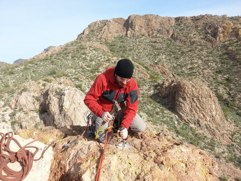 Rock Climbing Photo: A.C. drilling the 1st bolt.