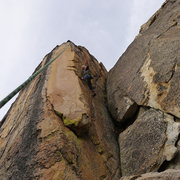 Rock Climbing Photo: Mike Arechiga on the FA, Golden Eye Arete, 5.10c. ...