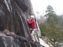 Rock Climbing Photo: Looking up at the crux overlap