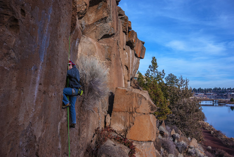 Sean climbing a newer route at Farewell.