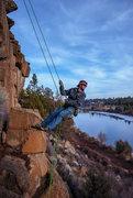 Rock Climbing Photo: Sean having fun on the way down!
