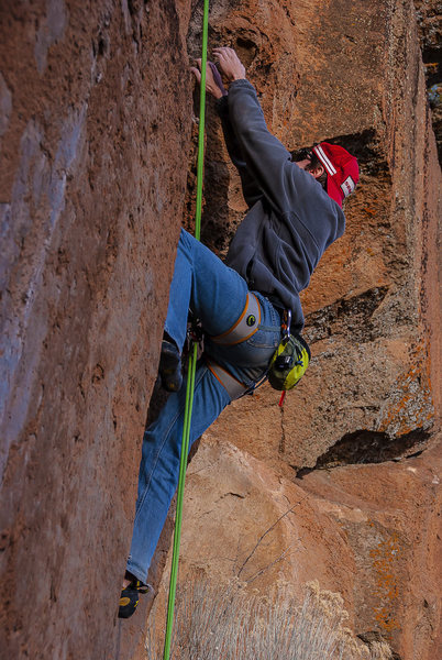 Rock Climbing Photo: Sean's close up while rope solo'ing at Farewell.