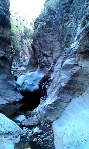 Exploring the gorge at Fantasma crag