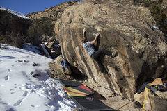 Rock Climbing Photo: Nick Reecy setting up for the final move on Down D...