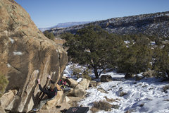 Rock Climbing Photo: Jared on the 2nd ascent of Down Draper, looking do...