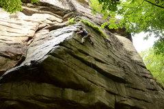 Rock Climbing Photo: Last big reach before the drop-in shuts.