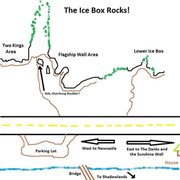 Rock Climbing Photo: Map of Ice Box.  Correction: It should say South t...