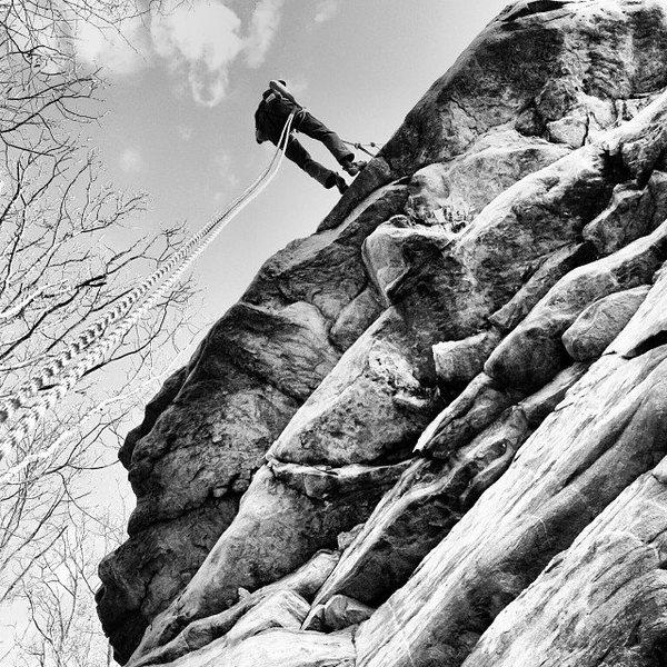 Rock Climbing Photo: Rapping at Annapolis Rock.