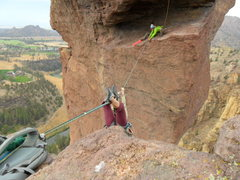 Rock Climbing Photo: Tyrolean into the Monkey's mouth, Smith Rock Orego...