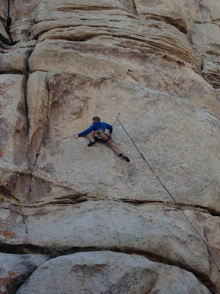 Rock Climbing Photo: Dave sussing out the crux moves at 4th bolt.