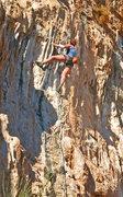 Rock Climbing Photo: Marilla chugs through the tufa  section before the...