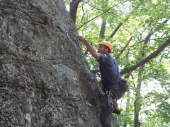 Rock Climbing Photo: Joe clipping on the Whimpy Gilman Ridge