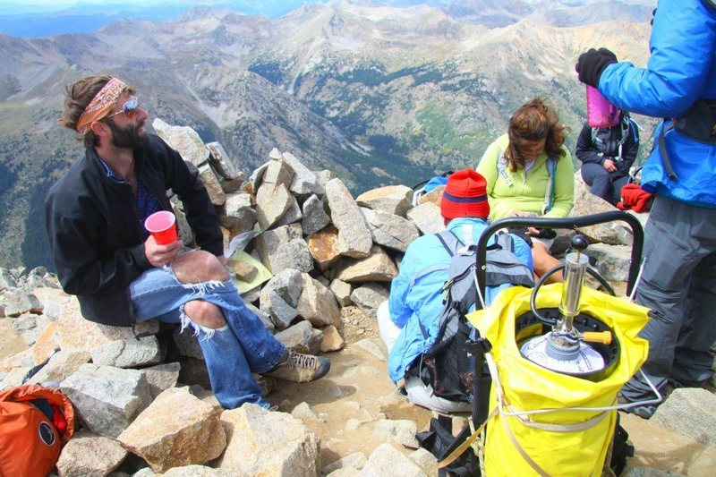 Beer on the summit of mountainmicah83's last 14er Huron