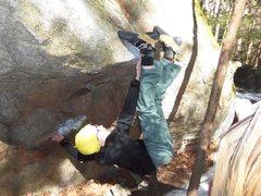 Rock Climbing Photo: Noah getting creative