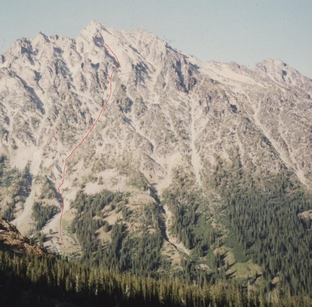 View of Mount Stuart's south side from Long's Pass.  Approximate approach to South Headwall marked in red trace.  Technical pitches start at the end of the red trace.