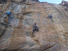 Rock Climbing Photo: Left to right, Jeremy on Foreclosure, Dom on Eye o...