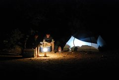Rock Climbing Photo: Back at camp sitting around the lantern after a lo...