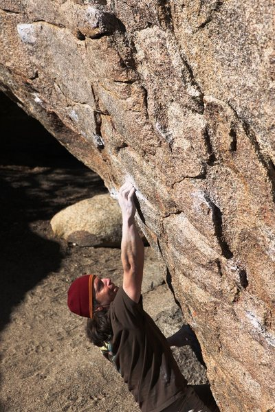 Rock Climbing Photo: Making the long reach to the start of the crimps f...