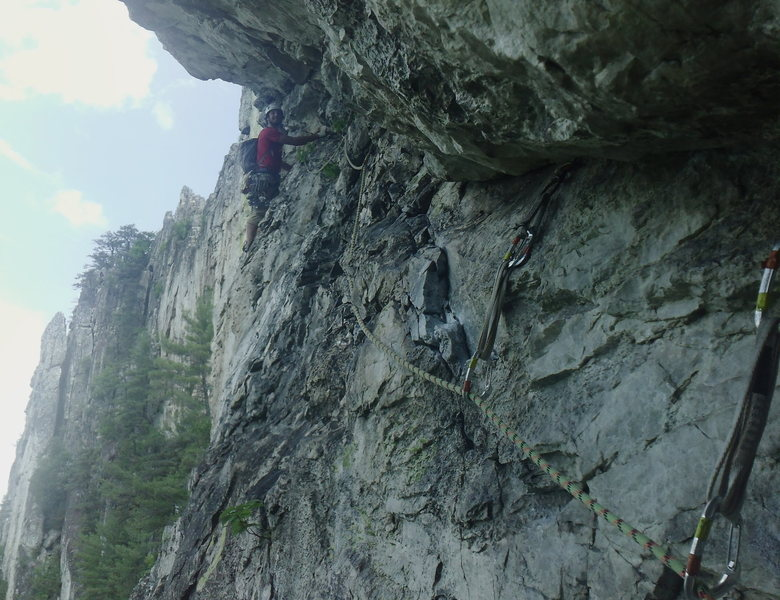 Pleasant Overhangs (5.7) at Seneca Rocks in West Virginia. An excellent route with some fun moves and interesting belays