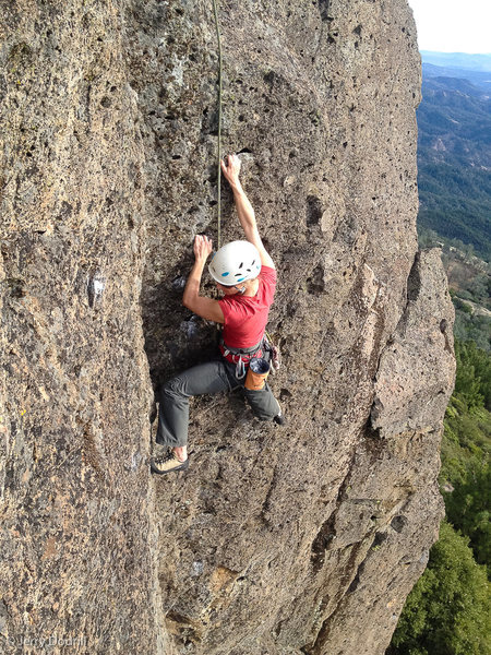Rock Climbing Photo: Nat Cromwell following The Farthing, (5.8) at The ...