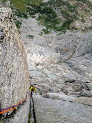 Rock Climbing Photo: Michelle coming up the crux corner of East Face Le...