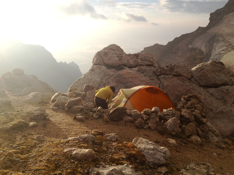 Camp at the Upper Saddle on the Grand Teton to climb the Upper Exum Ridge