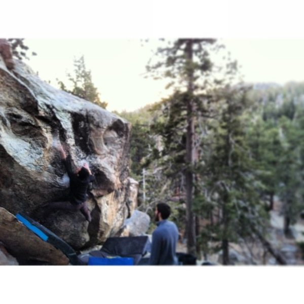 Rock Climbing Photo: Climber finishing up Mutiny