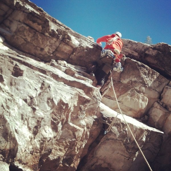 Rock Climbing Photo: Pulling over the second roof
