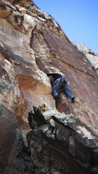 Early in the steep section of pitch 2.