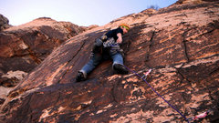 Rock Climbing Photo: Early in the thin face section of pitch 4.