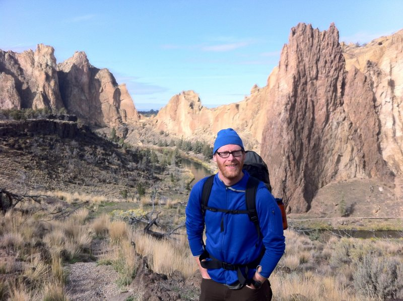 Seth at Smith Rock, ready for a day of trad climbing!