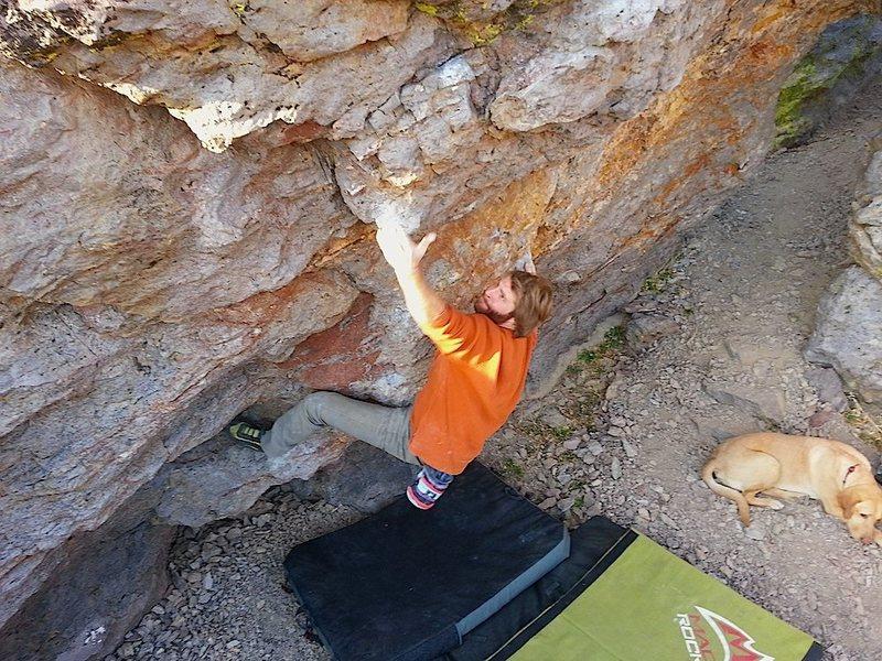 Rock Climbing Photo: John making moves on Twister.