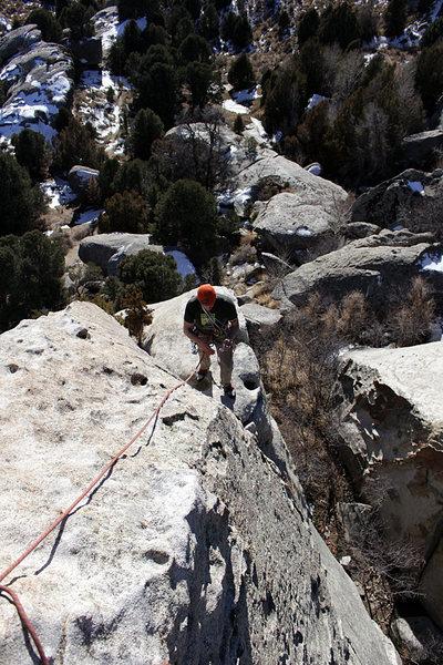 Rock Climbing Photo: Fun position on the ridge.