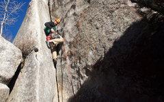 Rock Climbing Photo: Garret climbing the opening dihedral/hand crack