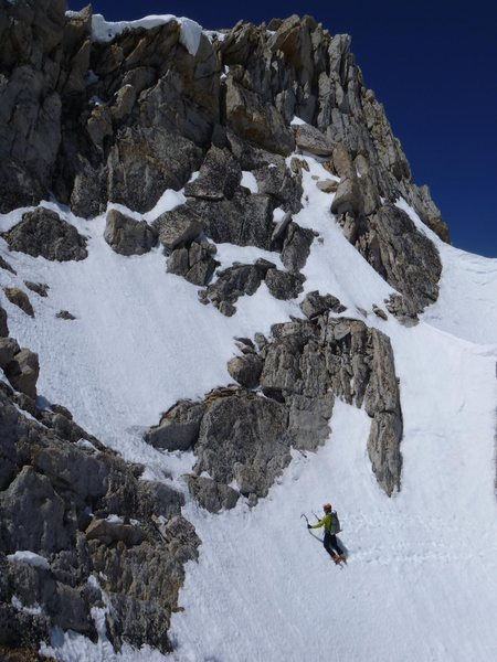 North Peak between the top of the couloir and the summit.