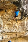 Rock Climbing Photo: The big-move-if-you're-small to reach the lip of t...