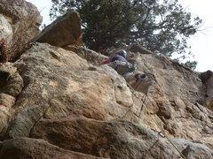 Rock Climbing Photo: Below the last bolt.