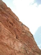 Rock Climbing Photo: climber on P4. starts off in a crack and goes to f...