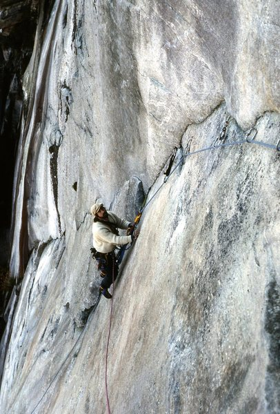 Rock Climbing Photo: Doc Bayne on one of many FA in SC. 1989