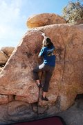 Rock Climbing Photo: On the short crack of Trout Chow, V0