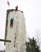 Rock Climbing Photo: the whole silo with flag in the stiff wind.
