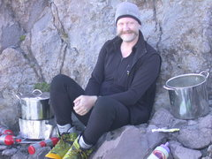 Rock Climbing Photo: Me in the kitchen melting snow camp 1 at 8700 feet...